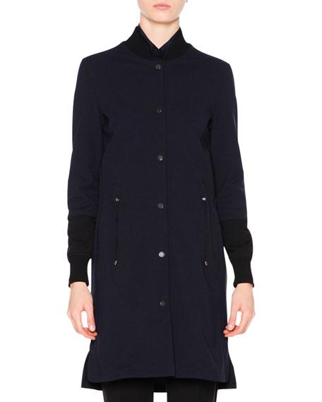 Long Bomber Techno Coat, Navy Price