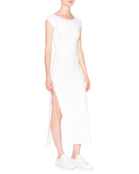 Callens Cap-Sleeve Ballet Dress W/Mesh Insets, White