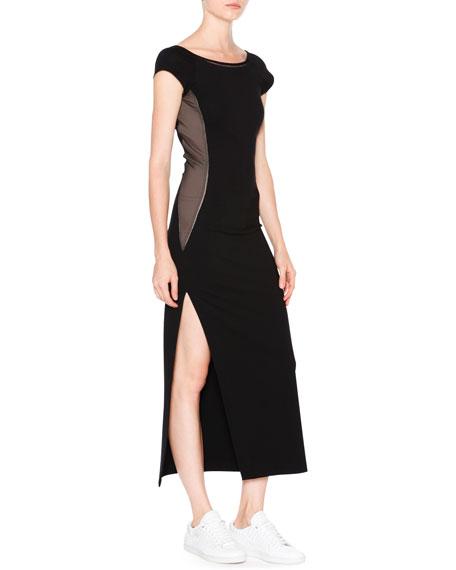 Callens Cap-Sleeve Ballet Dress W/Mesh Insets, Black/Brown