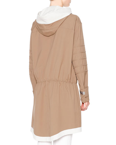 Waterproof Hooded Drawstring Coat, Almond/Chalk