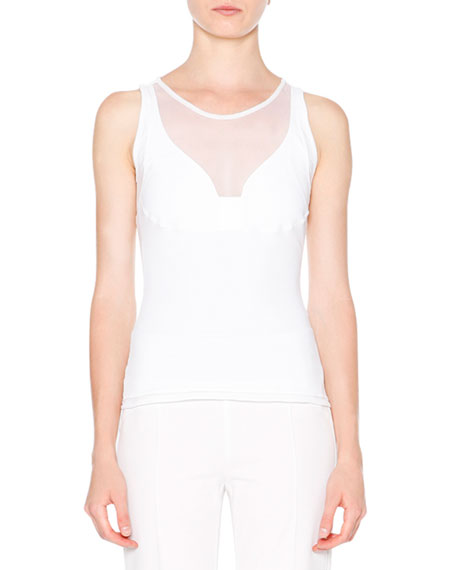 Callens Sleeveless Racerback Top, White
