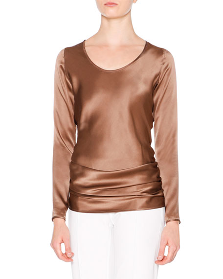 Callens Long-Sleeve Two-Tone T-Shirt, White/Summer Brown