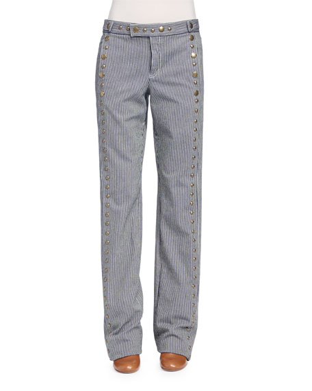Chloe Studded Christmas-Striped Denim Jeans, Navy/White