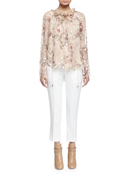 Chloe Long-Sleeve Floral-Print Blouse, Beige/Gold