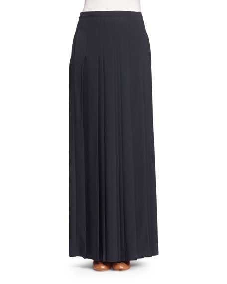 Chloe Pleated Kilt Maxi Skirt, Black