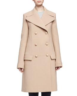 Double-Breasted Wool Crepe Coat