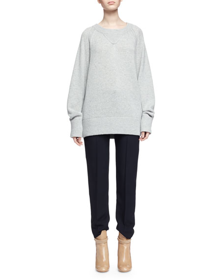Chloe Chunky Cashmere Crewneck Sweater, Gray