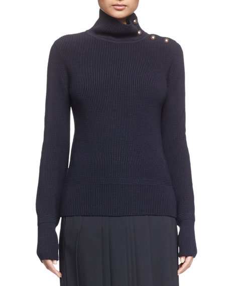 Chloe Military Ribbed Turtleneck with Buttons, Black