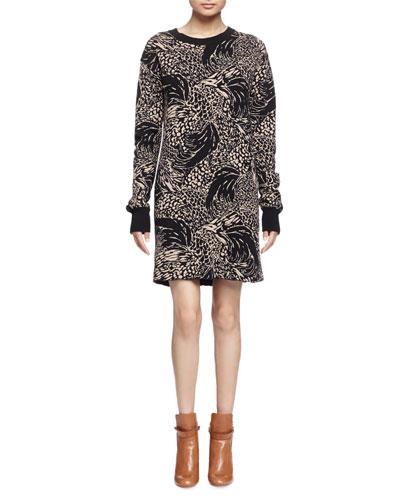 Long-Sleeve Abstract-Animal Shift Dress, Brown/Black