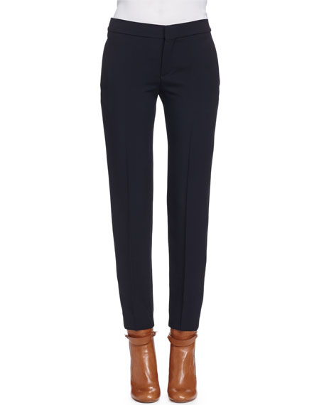 Chloe Light-Cady Straight-Leg Pants, Black