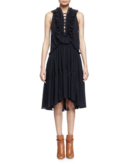 Chloe Embroidered Tiered Ruffled Dress, Navy
