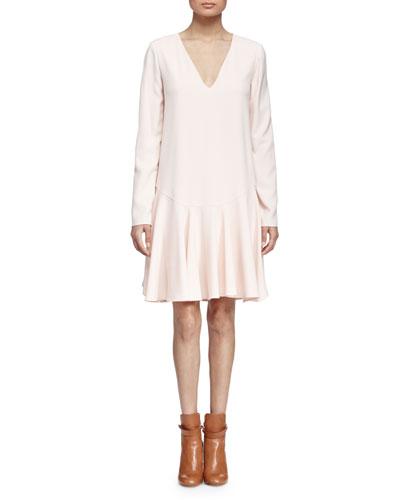 V-Neck Flounce-Hem Dress, Pale Pink