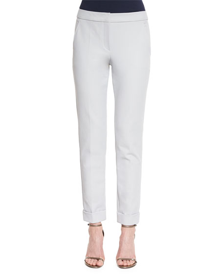 Armani Collezioni Slim-Leg Folded-Cuff Pants, Light Gray