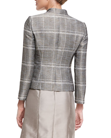 Plaid Faille One-Button Blazer, Tan