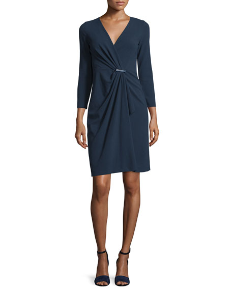 Armani Collezioni 3/4-Sleeve Gathered-Front Dress, Astral Blue