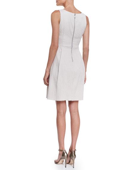 Sleeveless Textured A-Line Dress, Ivory