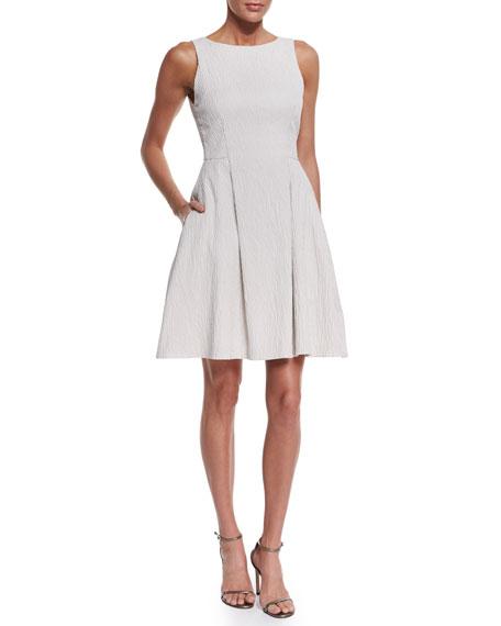Armani Collezioni Sleeveless Textured A-Line Dress, Ivory