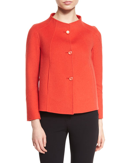 Button-Front Swing Jacket, Red