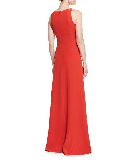 Techno Cady Side-Ruffle Gown, Red