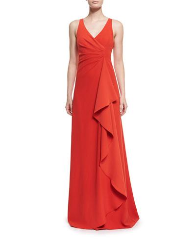Armani Collezioni Techno Cady Side-Ruffle Gown, Red