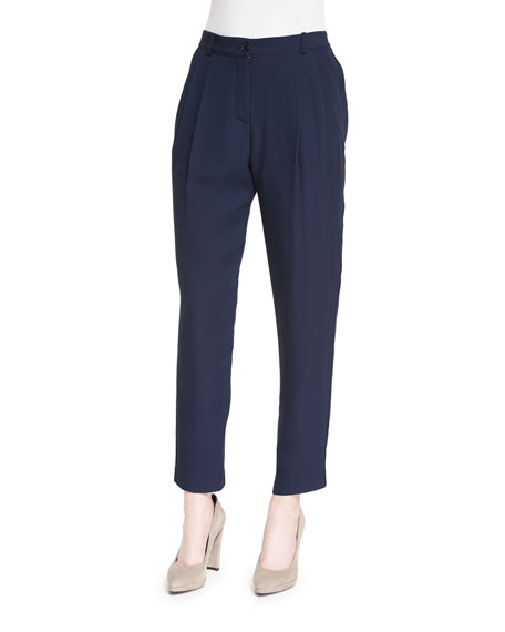 Armani Collezioni Textured Pleated-Front Trousers, Navy
