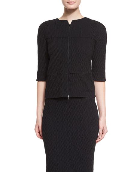 Armani Collezioni Half-Sleeve Jersey Swing Jacket, Black