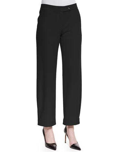 Techno Cady Wide-Leg Trousers, Black