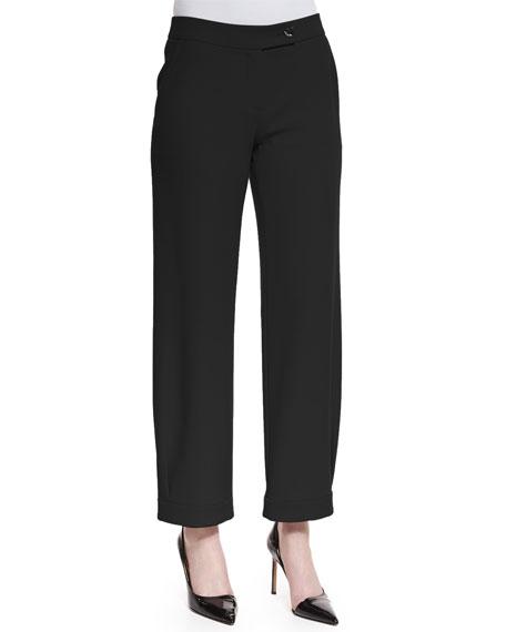 Armani Collezioni Techno Cady Wide-Leg Trousers, Black