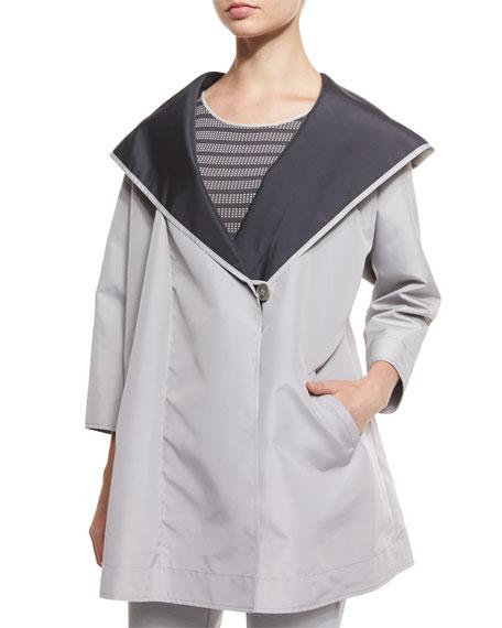 Armani Collezioni 3/4-Sleeve Reversible Coat, Gray