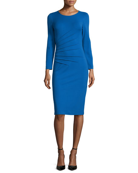 Armani Collezioni Long-Sleeve Side-Ruching Dress, Cornflower