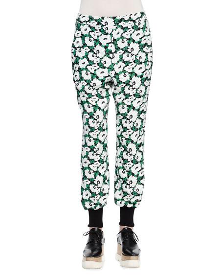 Stella McCartney Floral-Print Harem Pants, Black