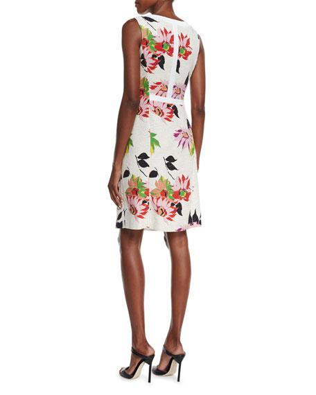 Blossom Pleated Sheath Dress, White