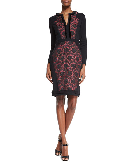 Etro Long-Sleeve Floral-Inset Dress, Black/Raspberry