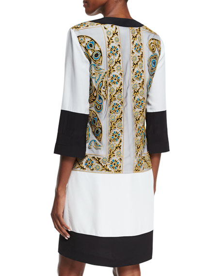 Embroidered Split-Neck Tunic Dress, Ivory/Green