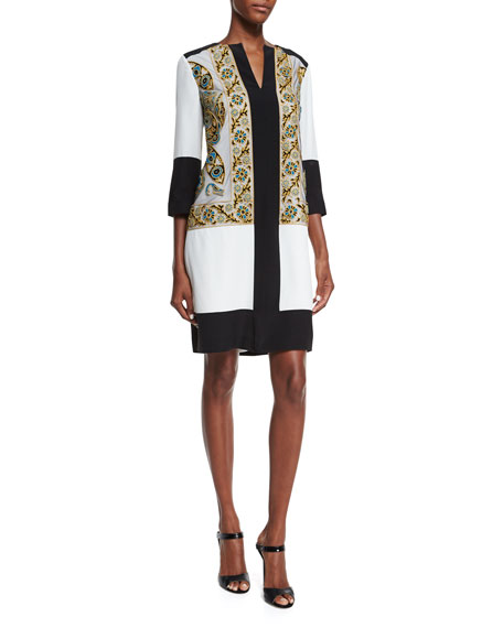 Etro Embroidered Split-Neck Tunic Dress, Ivory/Green