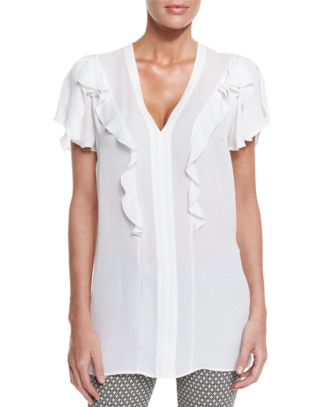 Flutter-Sleeve V-Neck Blouse, White