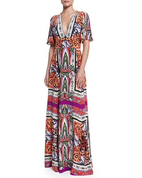 Etro Short-Sleeve Multi-Print Maxi Dress, Magenta