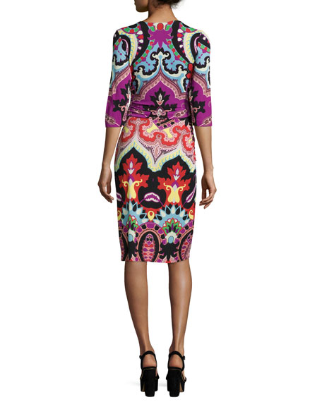 3/4-Sleeve Paisley Faux-Wrap Dress, Magenta