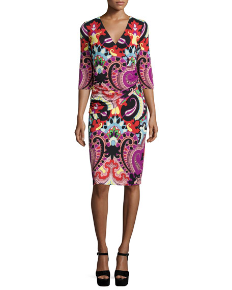 Etro 3/4-Sleeve Paisley Faux-Wrap Dress, Magenta