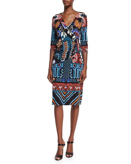 Etro 3/4-Sleeve Faux-Wrap Dress, Black/Blue/Red