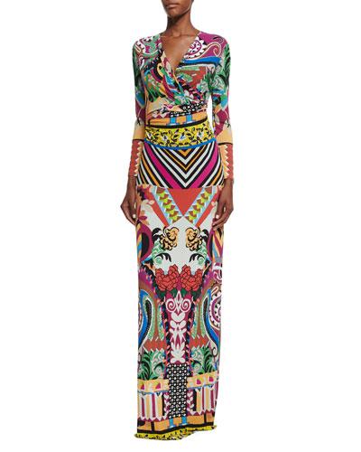 Multi-Print Faux-Wrap Maxi Dress, Purple Multi