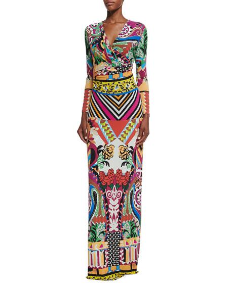 Etro Multi-Print Faux-Wrap Maxi Dress, Purple Multi