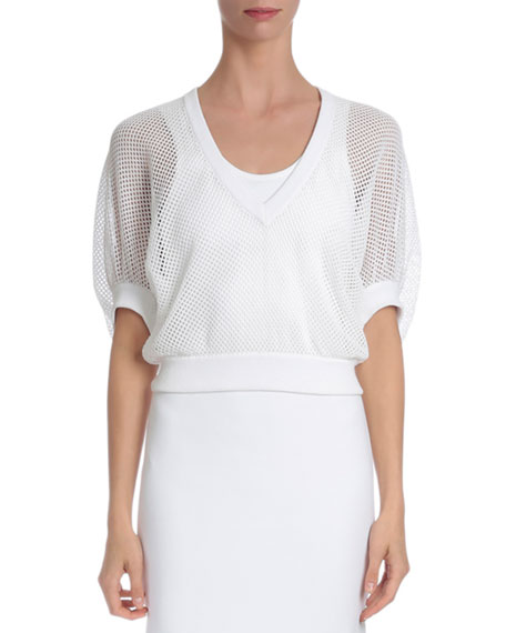 Givenchy Victorian-Sleeve V-Neck Mesh Pullover, White