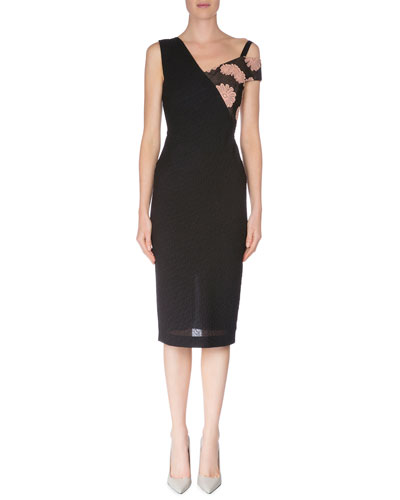 Asymmetric One-Shoulder Sheath Dress, Black/Blush
