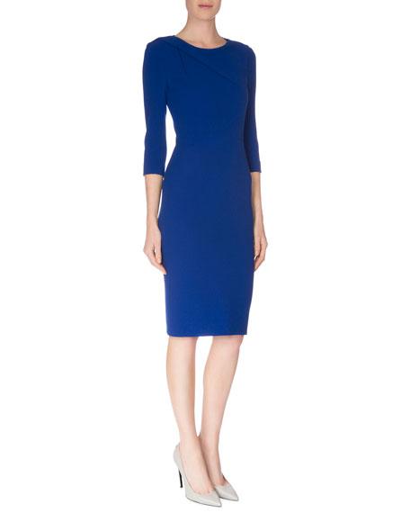 Roland Mouret 3/4-Sleeve Round-Neck Sheath Dress, Royal Blue