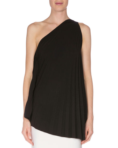 Roland Mouret One-Shoulder Crystal-Pleated Top, Black