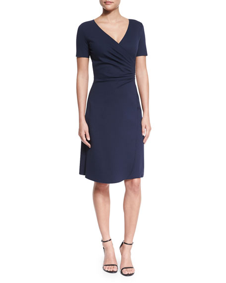 Armani Collezioni Short-Sleeve Faux-Wrap Dress, Navy