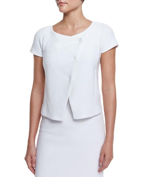 Armani Collezioni Short-Sleeve Ribbed Jacket, Off White