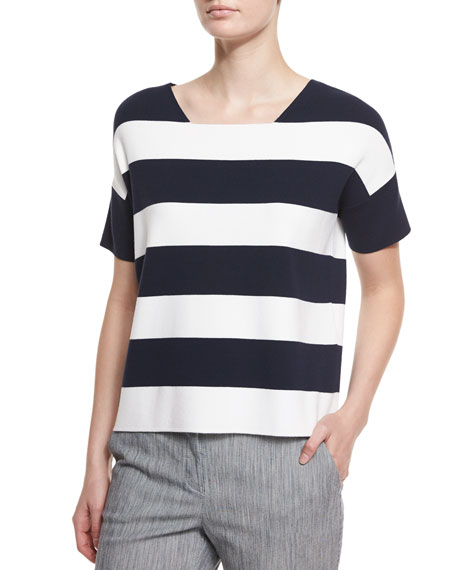 Armani Collezioni Short-Sleeve Wide-Stripe Tee & Skinny-Striped