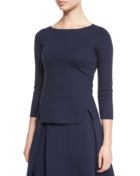 Armani Collezioni 3/4-Sleeve Round-Neck Top, Astral Blue